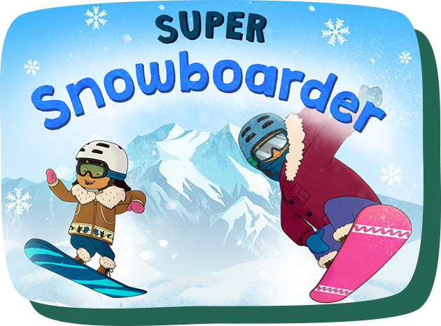 Super snowboarder. Molly and Auntie Midge snowboarding.