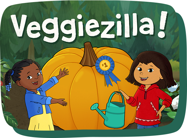 Molly and Trini present a giant-sized pumpkin they grew.