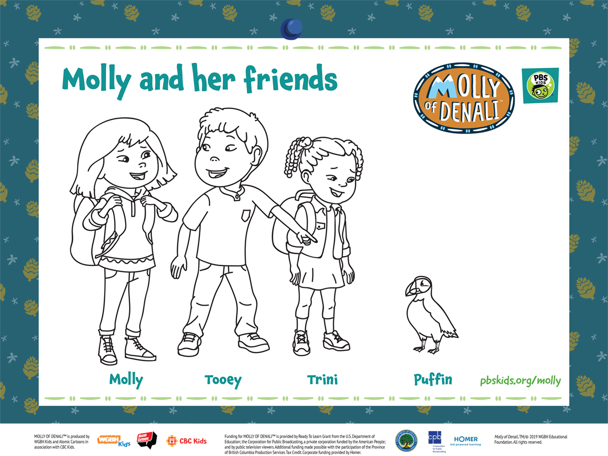 Molly of Denali Molly Friends Coloring Page