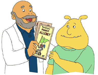 The doctor gives Binky a peanut allergy leaflet.