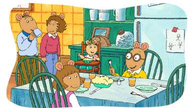 The Read family eats breakfast.