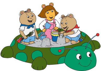 D.W. and the Tibble Twins play in the sandbox.