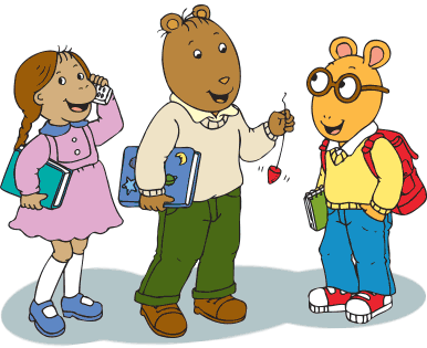 Arthur, Brain and Muffy stand together.