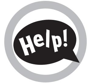 'Help' speech bubble sign.