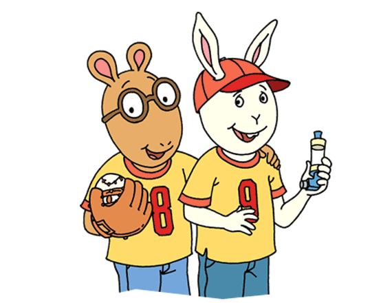 Arthur holds a baseball and glove, Buster holds an inhaler.
