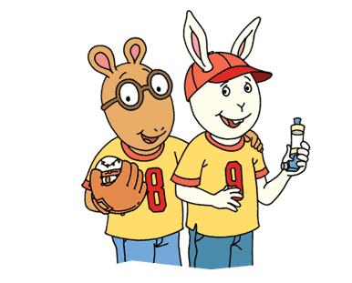 Arthur holds a baseball and glove, Buster holds an inhaler.