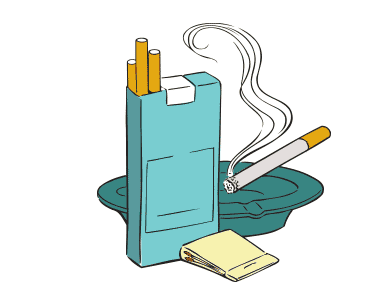 An open packet of cigarettes with a book of matches and an ashtray.