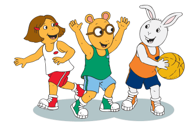 Francine, Arthur and Buster play basketball.