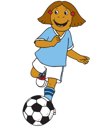 Francine kicks a soccer ball.