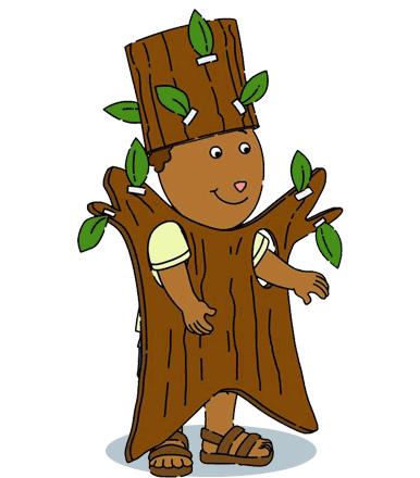Cheikh in a tree costume.