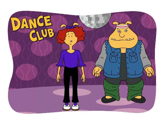 Binky and Prunella under a disco ball.