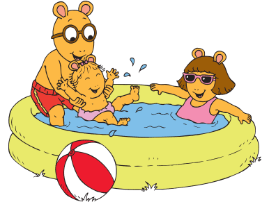 Arthur, D.W., and Baby Kate in a kiddie pool.