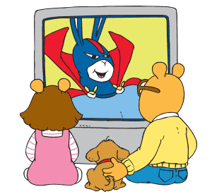 Arthur, Pal and D.W. watch TV together.