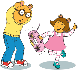 D.W. dances with a boom box while Arthur covers his ears.