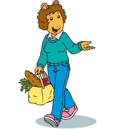 Mrs. Read carries a grocery bag.