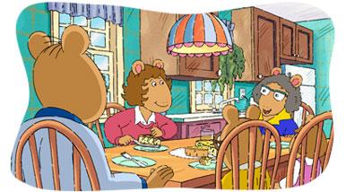 Arthur and family having dinner.