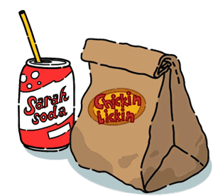 A soda and a bag of food from Chickin Lickin.