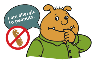 Binky with a speech bubble stating his peanut allergy.