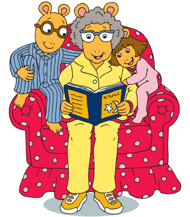 Grandma Thora reads to Arthur and Baby Kate.