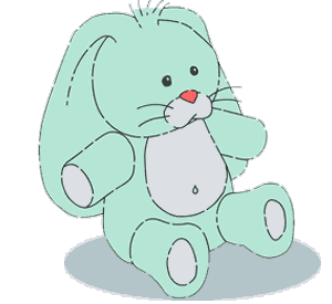 Blue stuffed bunny.