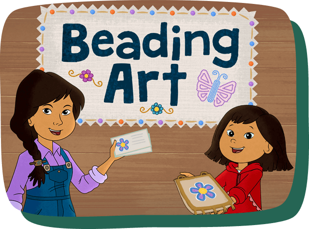 Beading Art. Molly hold a beaded craft and her mom shows a design card with instructions for making the craft.