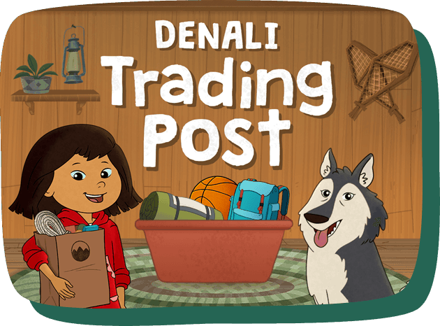 Trading Post. Molly and Suki appear with a bin full full of trading post merchandise. Molly carries a full shopping bag.