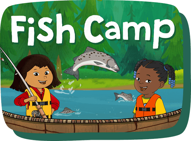 Fish Camp. Molly and Trini appear in brightly colored life jackets with large Alaskan salmon leaping out of the water. Molly holds a fishing rod.