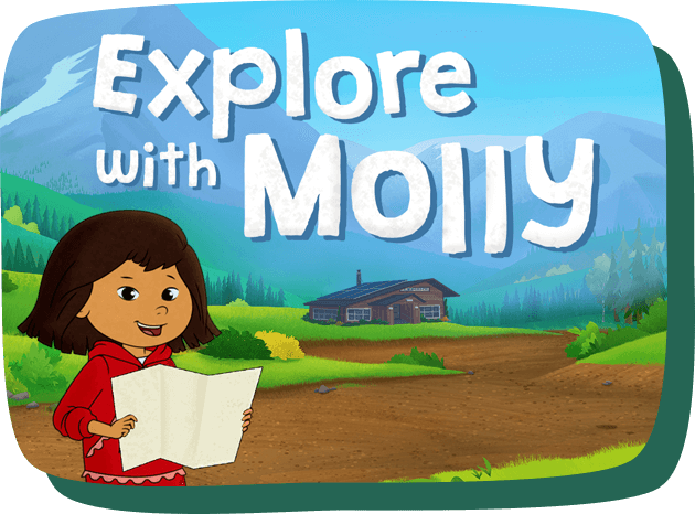 Explore with Molly. Molly holds open a map and in the distance there are mountains and the trading post.