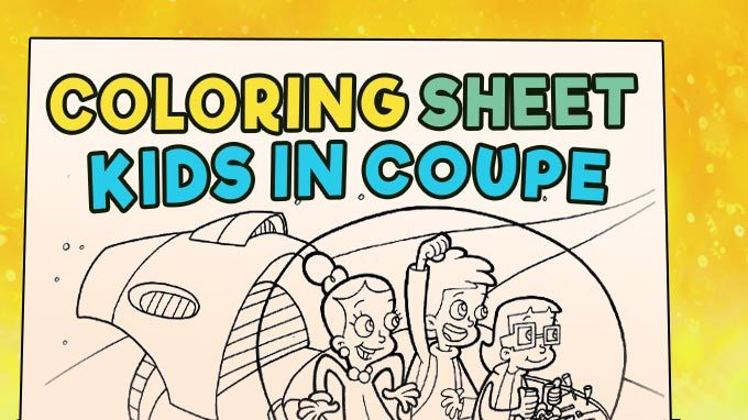 Coloring Sheet - Kids in Coupe