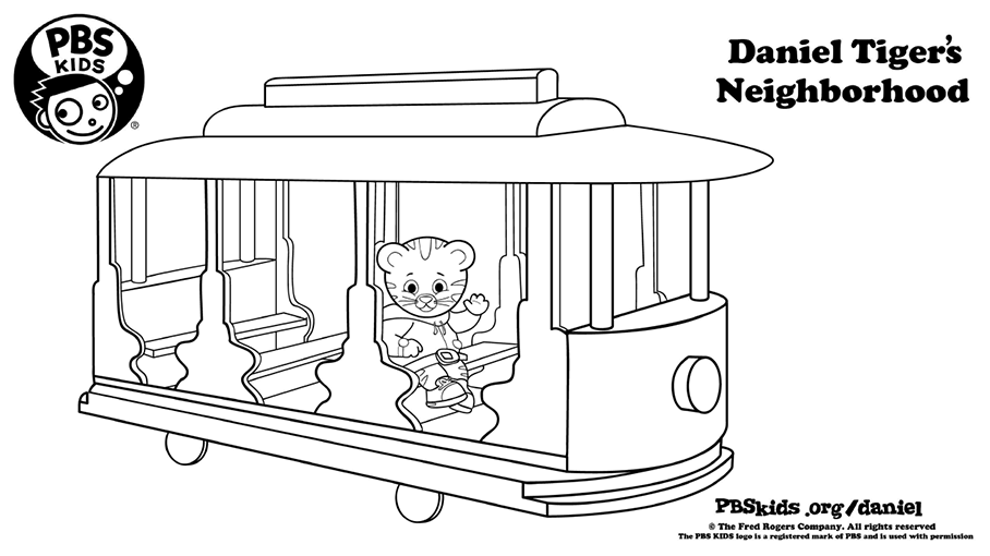 Daniel With Trolley Coloring Page Kids Pbs Kids For Parents