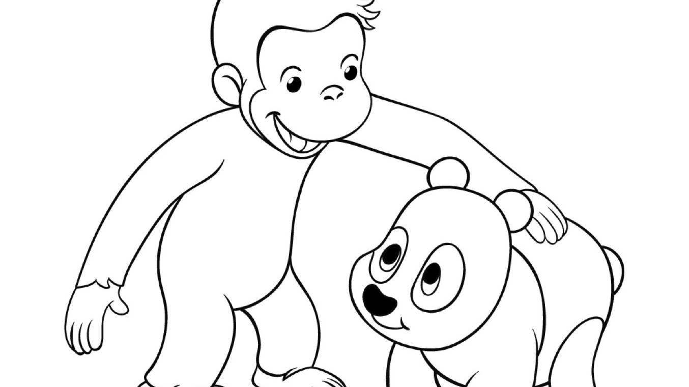 Curious George And Panda Coloring Page