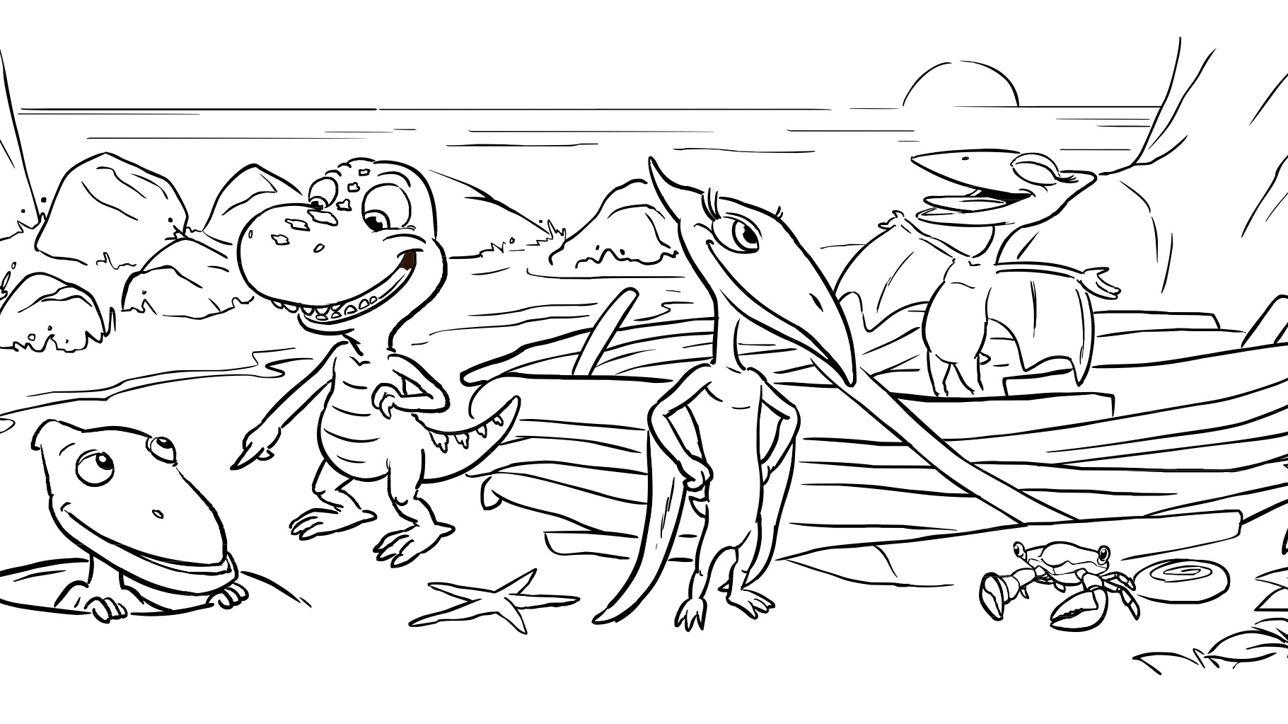 dinosaur friends coloring page kids