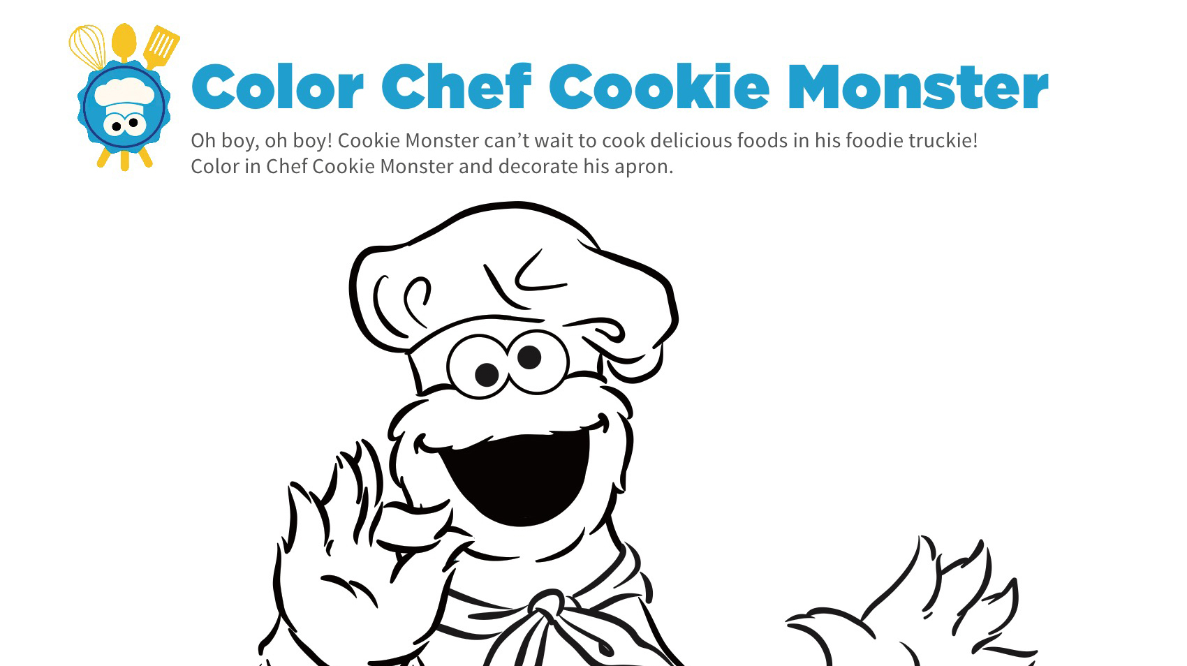 - Chef Cookie Monster Coloring Page Kids… PBS KIDS For Parents