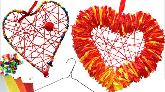 Hanger Heart Wreaths Crafts For Kids