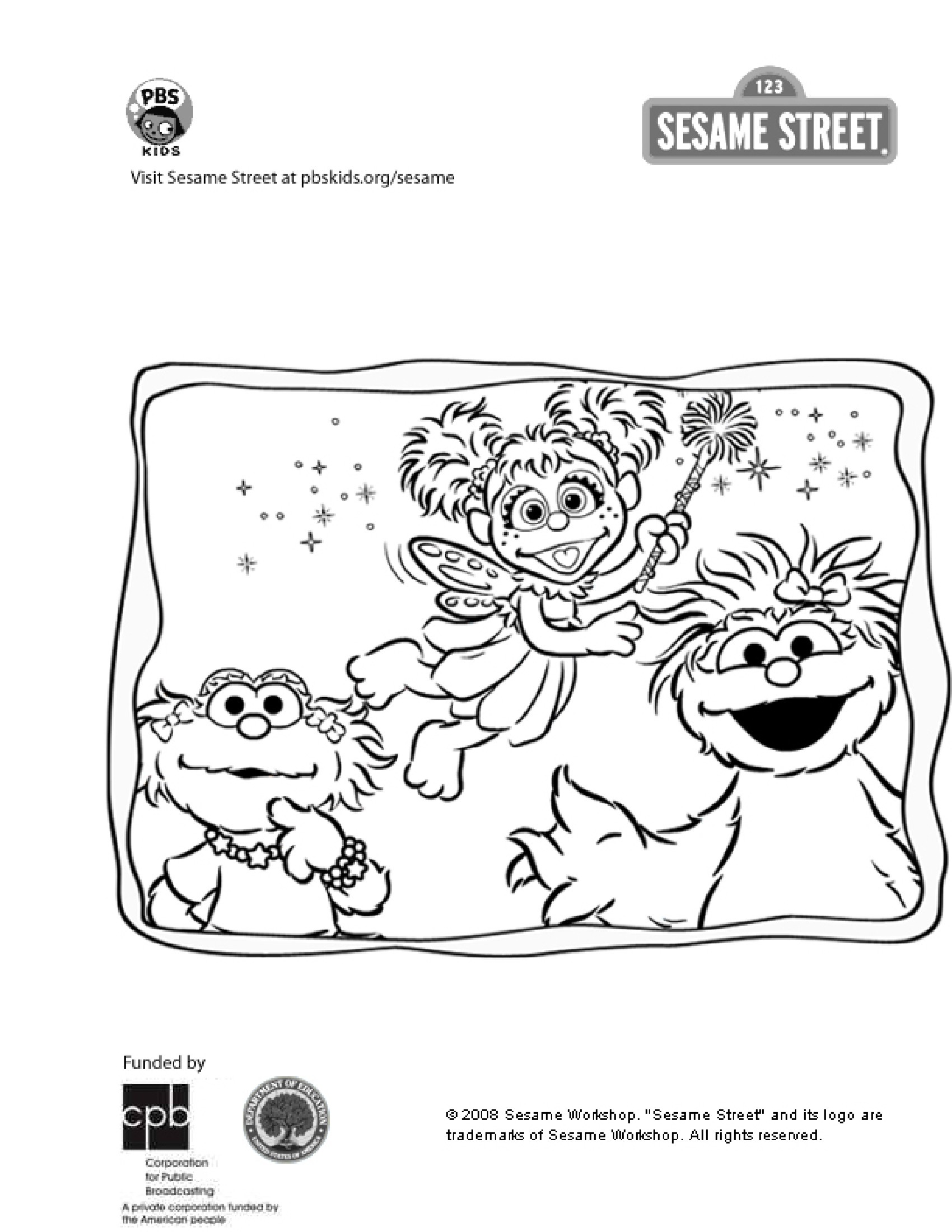 Sesame Street Characters coloring page | Free Printable Coloring Pages | 2200x1700