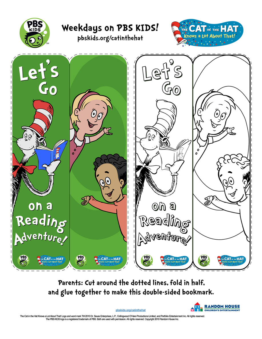 graphic regarding Cat in the Hat Hat Printable named Cat within just the Hat Bookmark Youngsters Coloring Internet pages PBS Children for