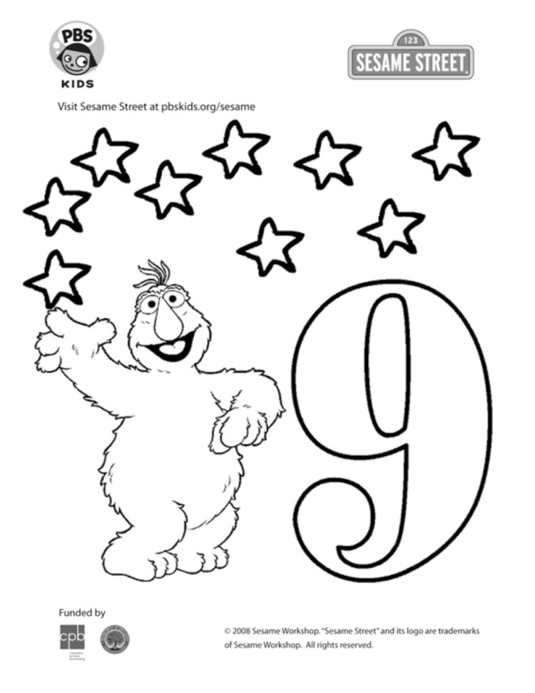 The Number 9 Coloring Page Kids Coloring… PBS KIDS For Parents