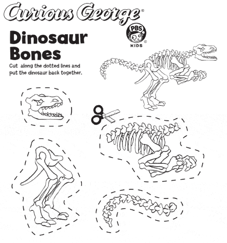 Dinosaur Bones Kids Coloring Pages Pbs Kids For Parents