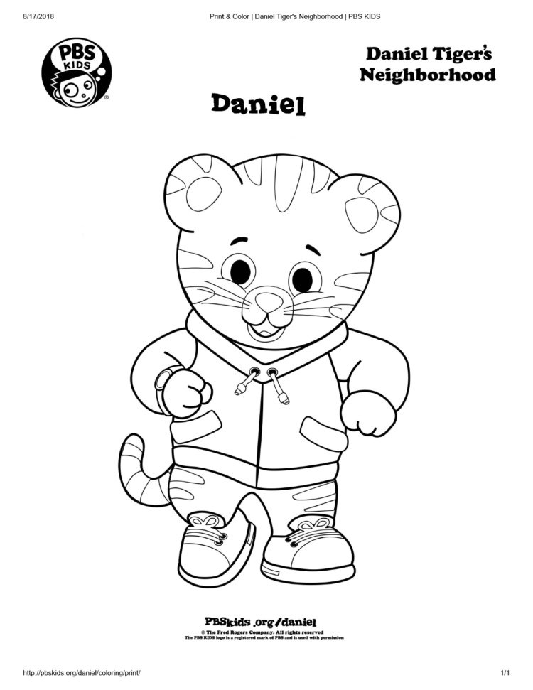 graphic relating to Daniel Tiger Coloring Pages Printable identify Daniel Tiger Coloring Webpage Small children Coloring PBS Little ones for