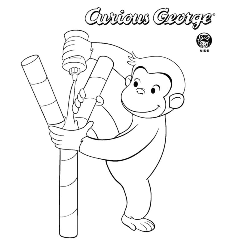 Coloring Pages | Curious George Coloring Page for Kids | 779x750