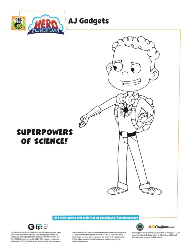 Aj Gadgets Coloring Page Kids Coloring Pages Pbs Kids For Parents