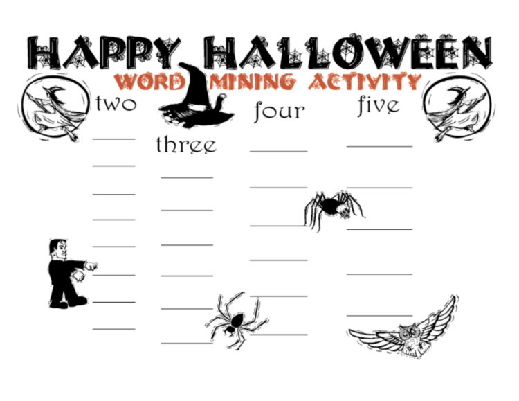 Image halloween word mining activity