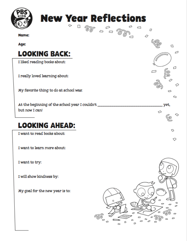 New Year Reflections Activity Kids Coloring… PBS KIDS For Parents