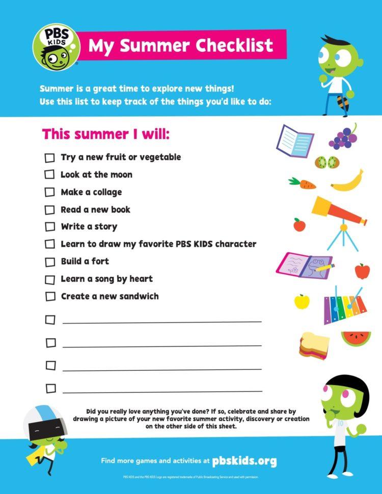 Download PBS KIDS Summer Bucket List image (PDF)