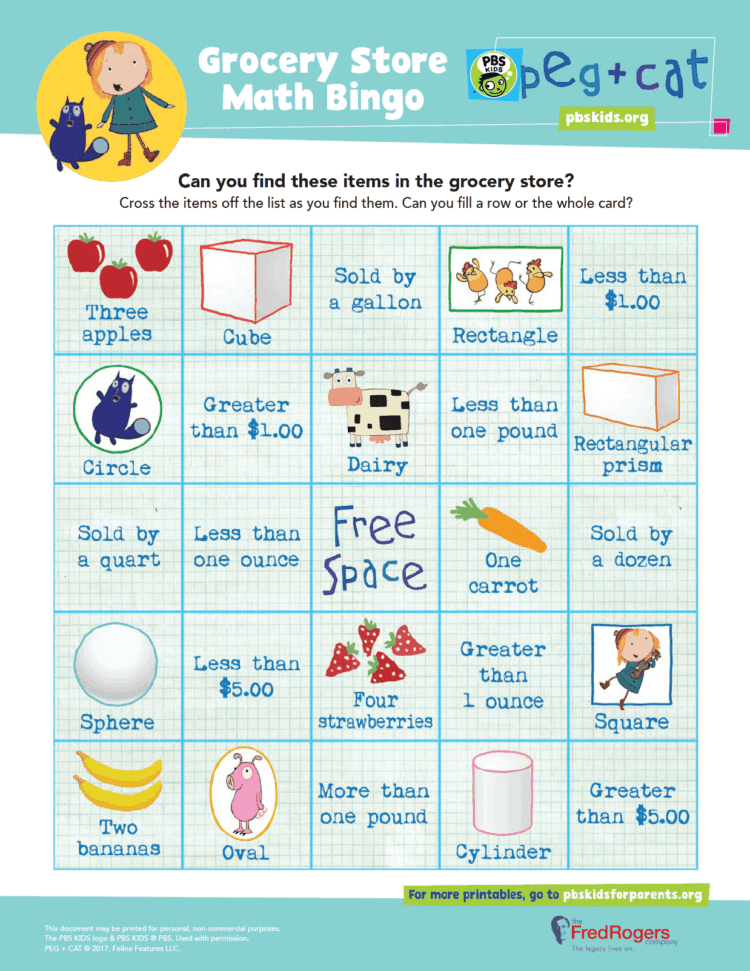 photo regarding Math Bingo Printable titled Grocery Shop Math Bingo Little ones Coloring Internet pages PBS Little ones