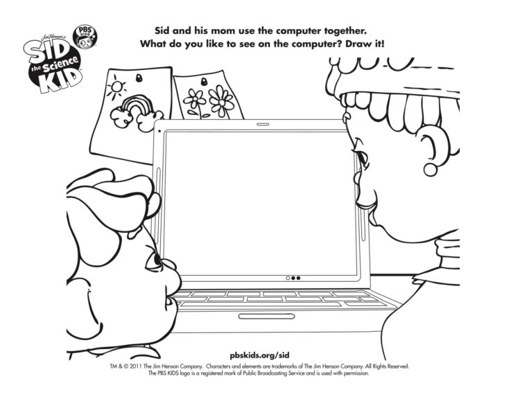 Sid On The Computer Coloring Page Kids Pbs Kids For Parents