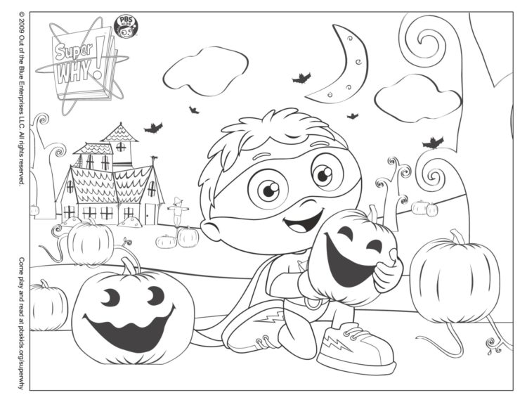Super Why! Halloween Coloring Page Kids… PBS KIDS For Parents