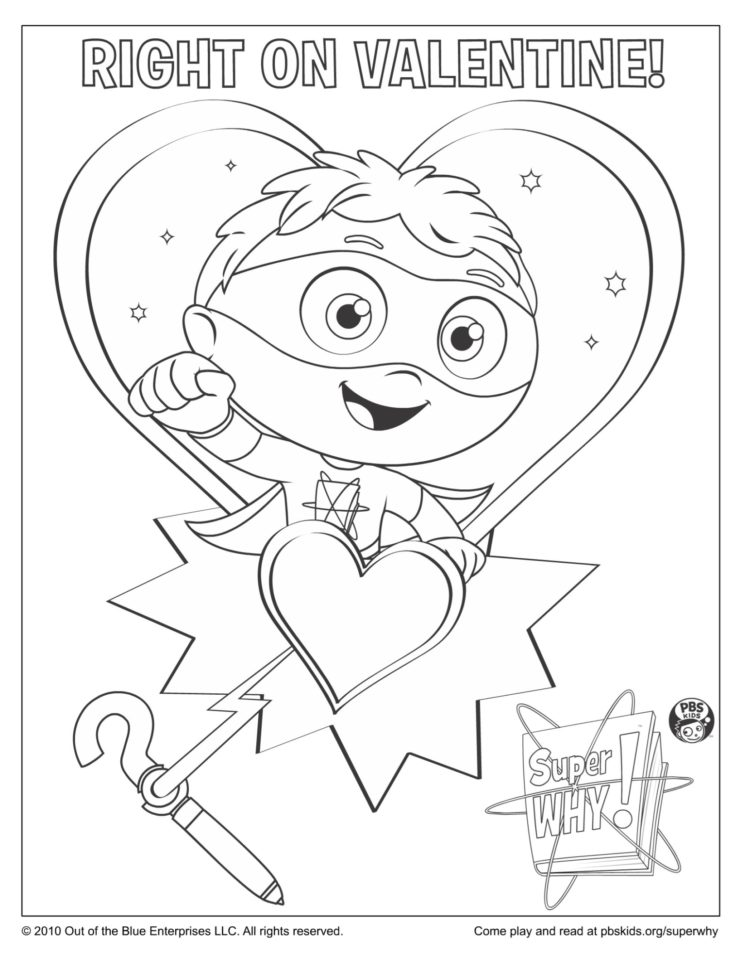 Super Why Valentine's Day Coloring Page Kids… PBS KIDS For Parents