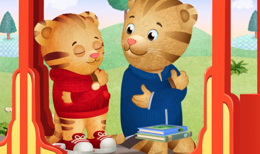 Daniel Tiger and Dad Tiger practicing belly breathing.