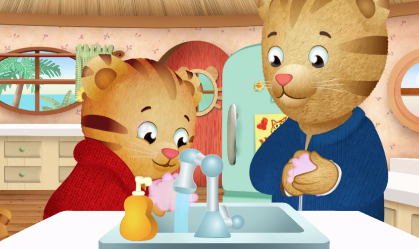Image of Daniel Tiger and Dad Tiger washing their hands.